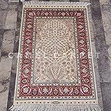 Camel Carpet Tree of Life Silk Handmade Small Muslim Prayer Rug 2'x3'