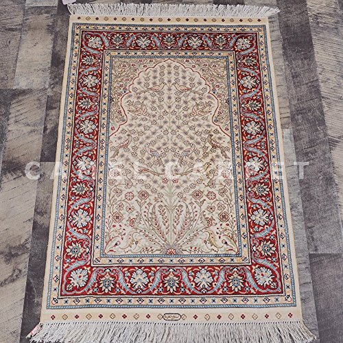 Camel Carpet Tree of Life Silk Handmade Small Muslim Prayer Rug 2'x3' by Camel Carpet