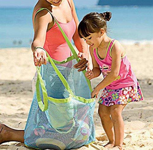 Hosaire 1X Borsa Sacchetto Rete Grande Portatile Porta Giochi Palle Spiaggia,Portatile Ragazzo Giocattoli Organizzatore Spiaggia Stoccaggio