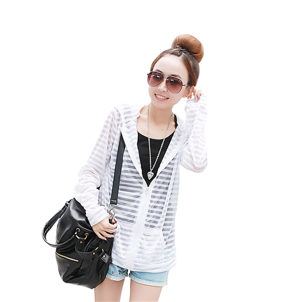 meistore 2015 Couple Sunscreen UV Sun Protection Hooded Quick Dry Slim-Fit Thin Strips Jacket