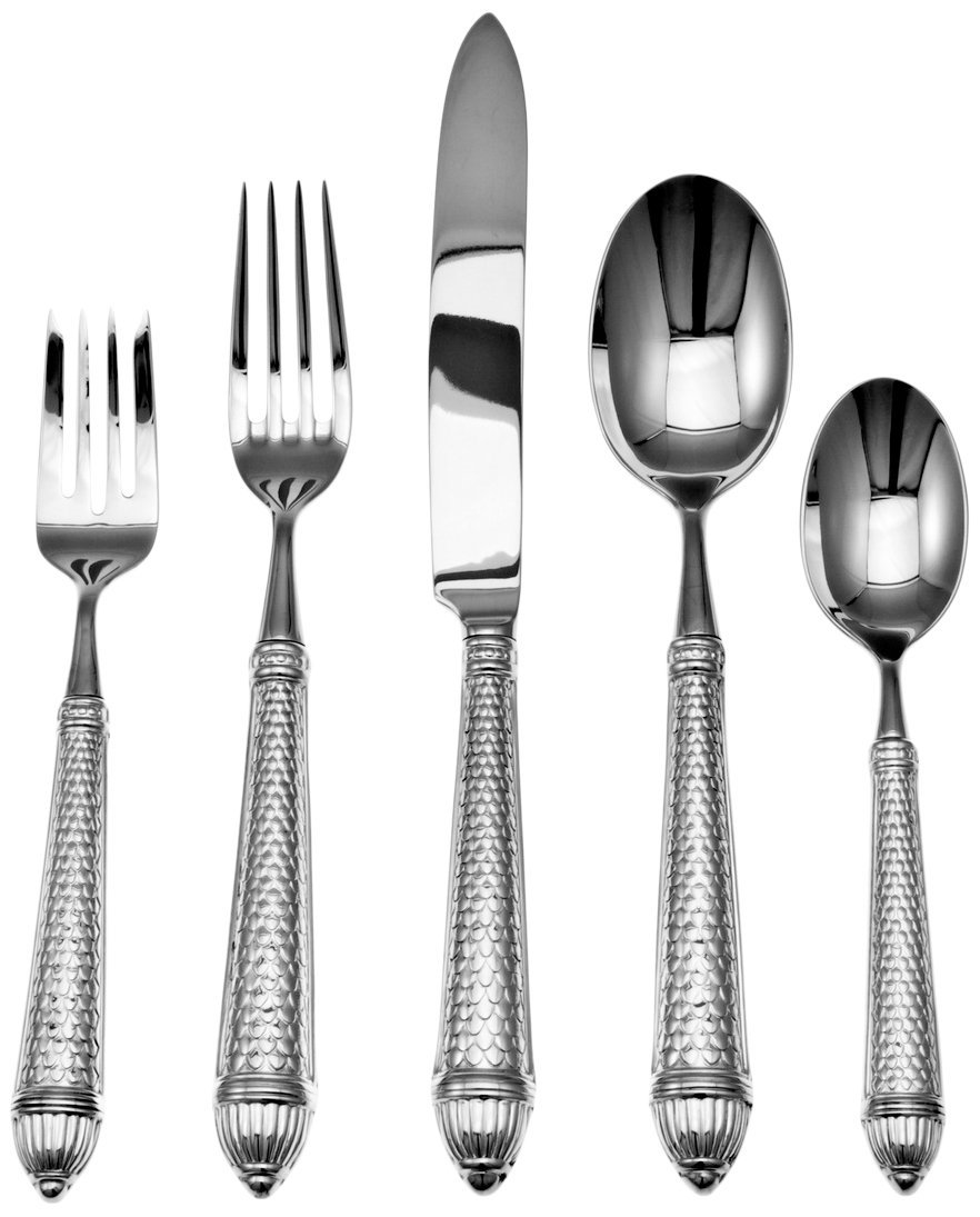 Ricci Raffaello Stainless 5 Pc. Place Setting - Famous Ricci quality and style The 5 pc. place setting consists of one each of the dinner knife, dinner fork, salad fork, place spoon and teaspoon. Raffaello is made in the oversized continental - kitchen-tabletop, kitchen-dining-room, flatware - 61ZLJ850m%2BL -