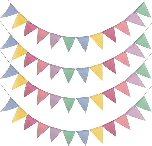 48 Pcs Guirnalda Banderas Banderines Arpillera de Imitación, Pancarta Triángulo Multicolor Decoración Colgante de Boda Bautizo Fiesta Cumpleaños Navidad(4 Cadenas): Amazon.es: Hogar