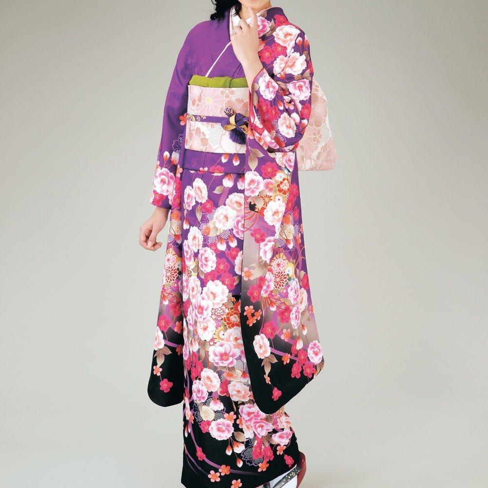 振袖 女性レディース振袖袋帯長襦袢3点セット 18タイプ/ B01MZACE2W 1(紫黒) 1(紫黒)