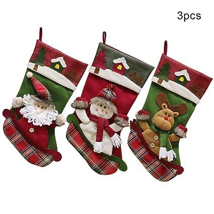d011d5c9639 TIDECAT  2018 Christmas Stockings 18 inch Cute Santa Snowman Reindeer Xmas  Character 3D Hanging Gift