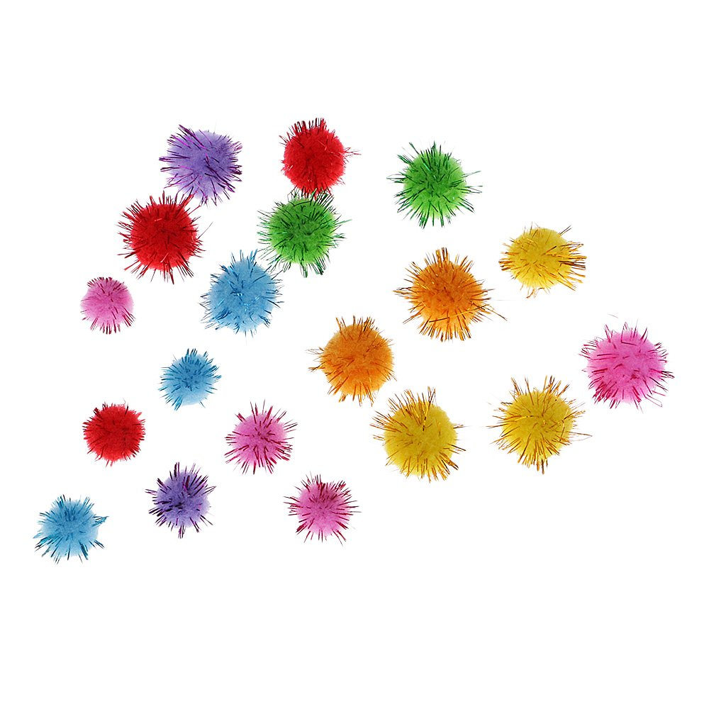 100 Pieces Glitter Pom Poms Craft Tinsel Fluffy Pompoms Balls Mixed Colours Cat Toys for Home Party Decoration Handmade Craft Scrapbooking Doll DIY 1.5cm 2.5cm Mixed