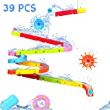 Fajiabao Kids Bath Toys Fun DIY Slide Indoor Waterfall Track Stick to Wall with Suction Cup and Wheels Water Ball Shower Floa