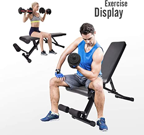 Multi-Functional Home Gym Strength Training Fitness Workout Station YZ Adjustable 90/°Flat Weight Bench,Multifunctional Weight Bench Folding Dumbbell Bench Incline Exercise Bench 200kg Weight Capacity