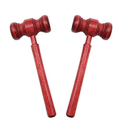 esowemsn 2pcs Mini Wooden Gavel Toy Kids Judge Gavels Cosplay Lawyer Judge Gavel Costume Props for Meeting Boys Girls Children Toy: Home & Kitchen