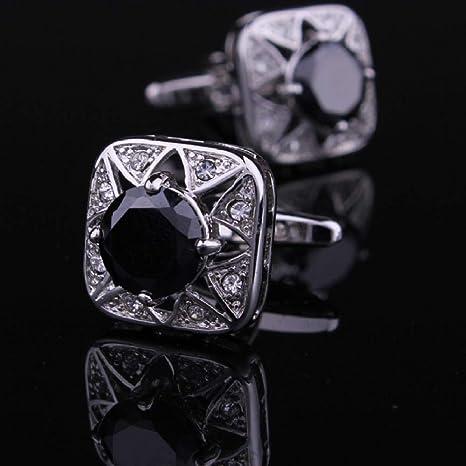 WYLCDGEOO Gemelos de Cristal de Diamante Negro Azul de Tinta Nueva para Hombres Gemelos de Camisa Blanca para Hombres joyería: Amazon.es: Deportes y aire libre
