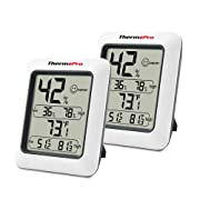 ThermoPro TP50 2 Pieces Digital Hygrometer Indoor Thermometer Room Thermometer and Humidity Gauge with Temperature Humidity Monitor