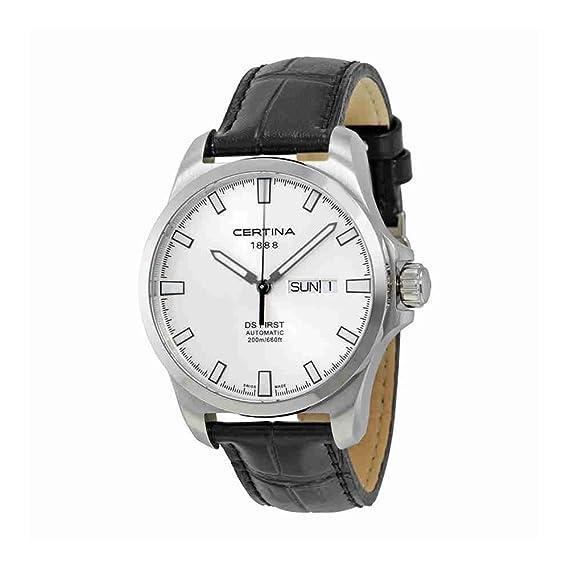 Certina - Reloj Analógico de Automático para Hombre, correa de Cuero color Negro: Amazon.es: Relojes