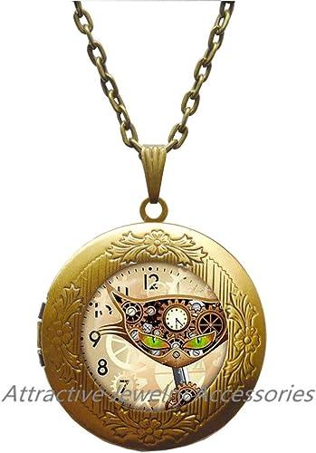 Steampunk cat glass Locket Pendant Mechanical clock round glass dome Locket Pendant Locket Necklaces charm bell movement Locket Necklaces Jewelry,QK102