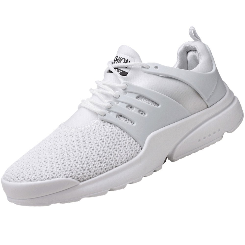 Mysky Fashion Men Summer Pure Color Breathable Mesh Sneakers Men Casual Simple Lace Up Sport Running Shoes White