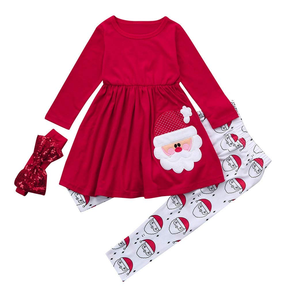 HLHN Baby Girls Dress+Pants+Headbands Set Christmas Santa Princess Cute Outfits Toddler Kids Party Clothes Long Sleeve Casual Winter 3PCS
