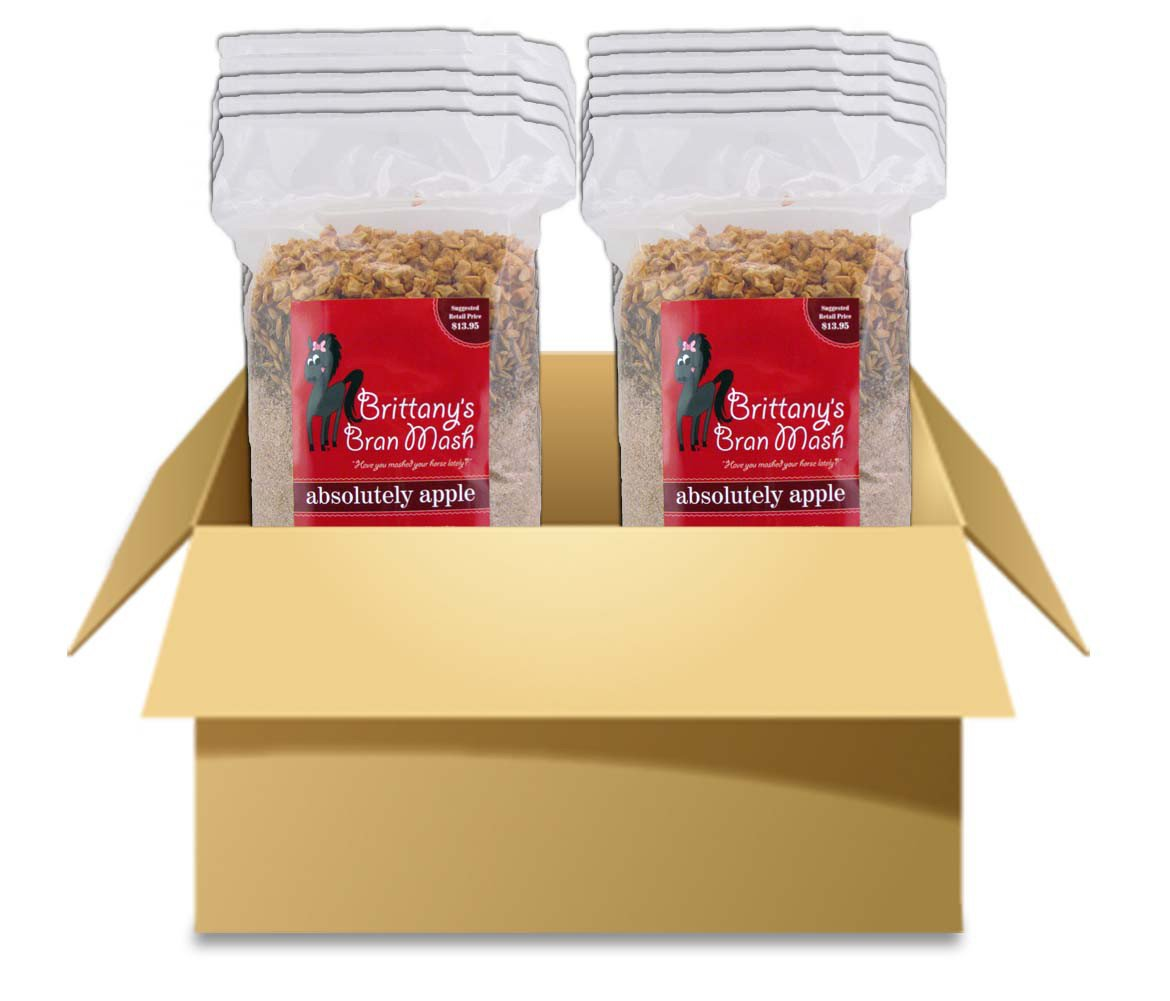 Horse Treats - Brittany's Bran Mash for Horses (JUMBO Size - (Case of 10 Bags), Absolutely Apple)