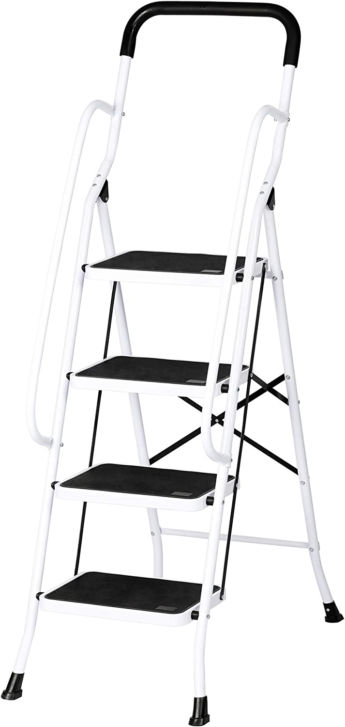 Dporticus Anti-Slip Portable 4 Step Ladder with Wide Pedal and Sturdy Handrails Folding Safty Steel Step Stool Multi-Use for Household Market Office,330LBS Capacity