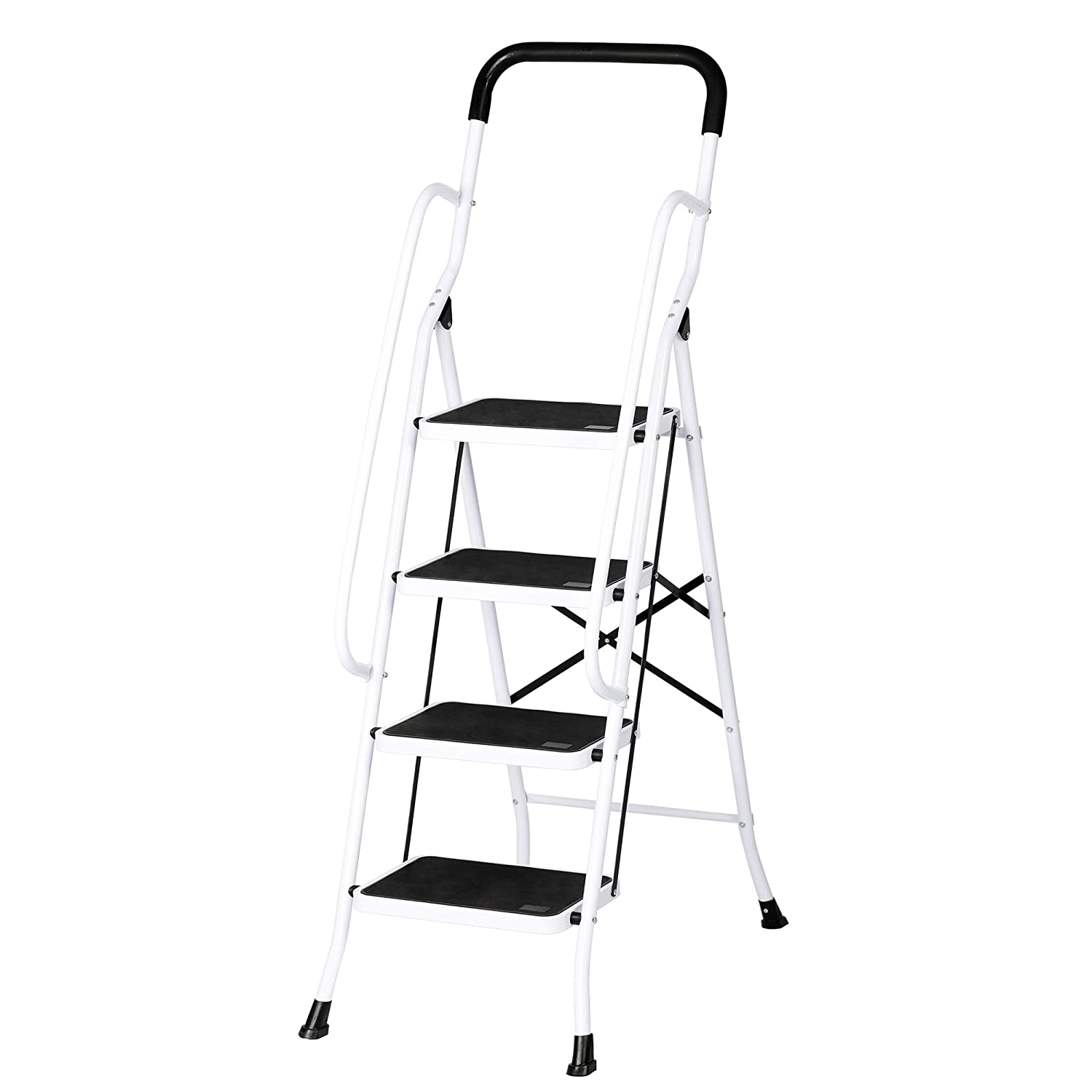 Dporticus Portable Anti-Slip 4 Step Ladder with Wide Pedal and Sturdy Handrails Folding Safty Steel Step Stool Multi-Use for Household,Market, Office