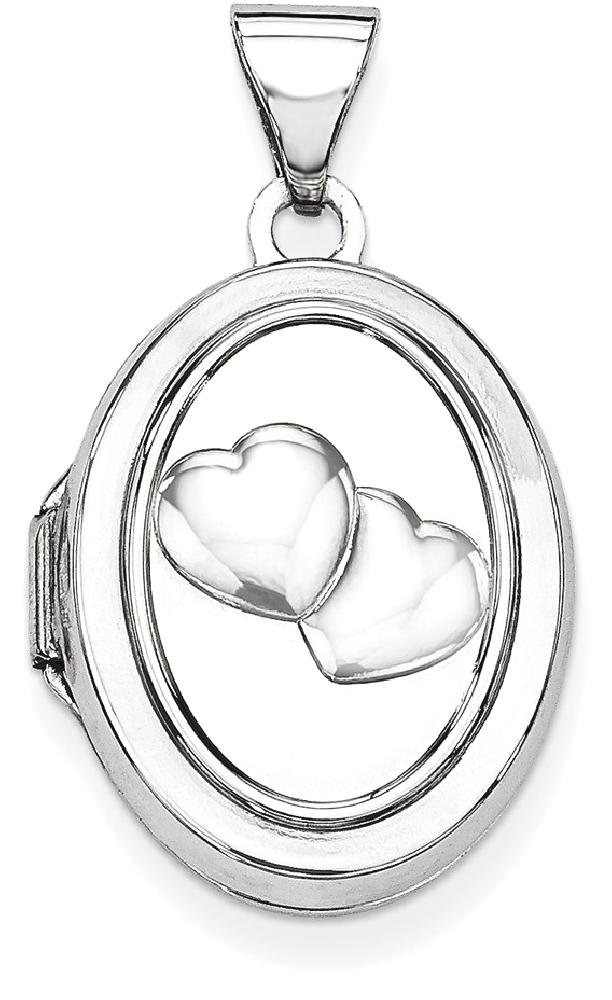 ICE CARATS 14k White Gold 17mm Double Hearts Oval Photo Pendant Charm Locket Chain Necklace That Holds Pictures Fine Jewelry Gift For Women Heart