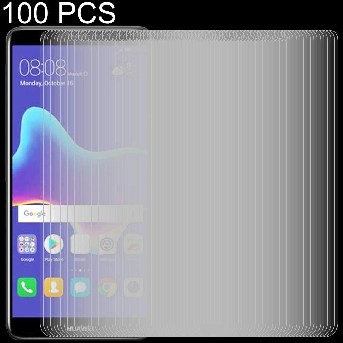 YSH Cell Phone Accessories 100 PCS 0.26mm 9H 2.5D Tempered Glass Film for Huawei Y9 2018 Screen Protector for Huawei