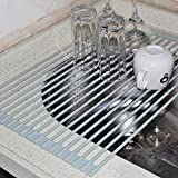 porcelain coated coffee pot - LifeQVC Over the Sink Dish Drying Rack Foldable Small Mat Roll-up Silicone Compact Dish Drainer 20.5