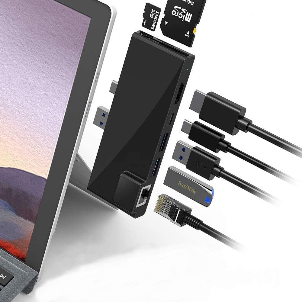 POWER TECHNOLOGIE - Hub USB C Surface Pro 7 USB Hub 3.0 Docking Station para Tablet Microsoft Surface Pro 7, Ethernet RJ45 + 2 USB 3.0 + HDMI 4K + 1 Puerto USB-C + Lector Tarjetas SD/Micro SD