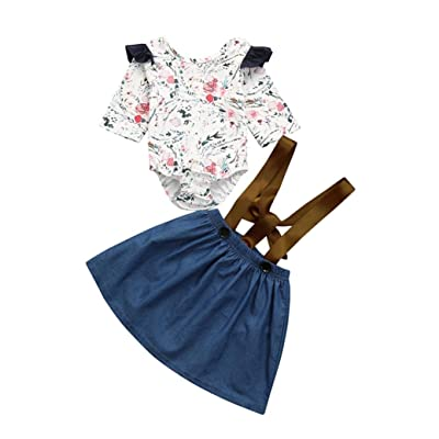 G-real Kids Toddler Baby Girls Fashion Half Sleeve Floral Ruffle Romper Tops+Strap Skirt 2pcs Outfits
