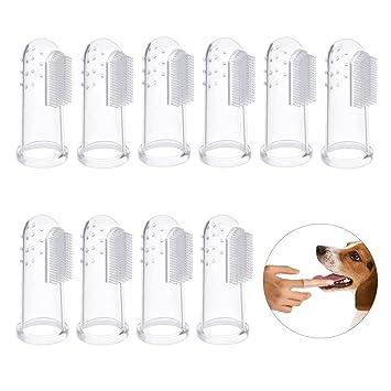 Bello Luna Cepillos de dientes del perro 10Pcs, cepillo de dientes del dedo del animal doméstico Cepillos de la higiene dental para el perro y el gato: ...