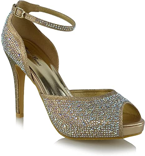 Womens Bridal Peep Toe Sparkly Shoes