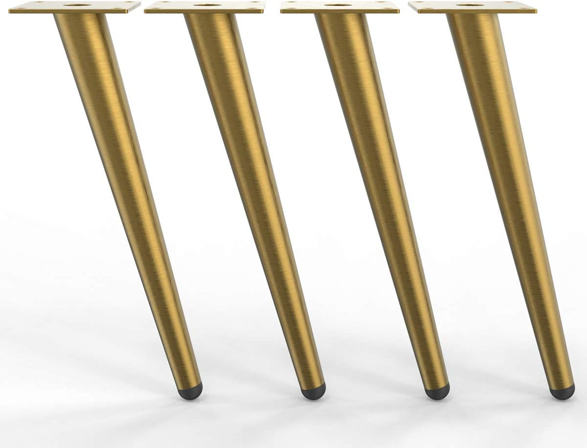 "WOOZOOY 16"" Furniture Legs Coffee Table Legs,Brushed Gold Metal Home DIY Projects Sofa Leg TV Cabinet Leg,Chair Leg,Ottoman Leg Pack of 4"