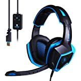Sades 40mm Dynamic Speaker Headphones 7.1 Surround Sound Stereo USB Wired Iron Mesh PC Gaming Headset with Microphone (LUNA)