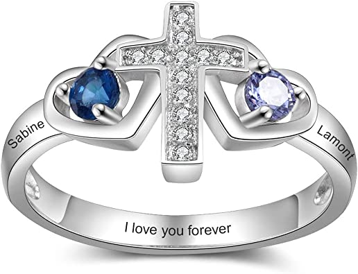 Personalized Family Mother Rings with 2 Simulated Birthstone Names Promise Ring