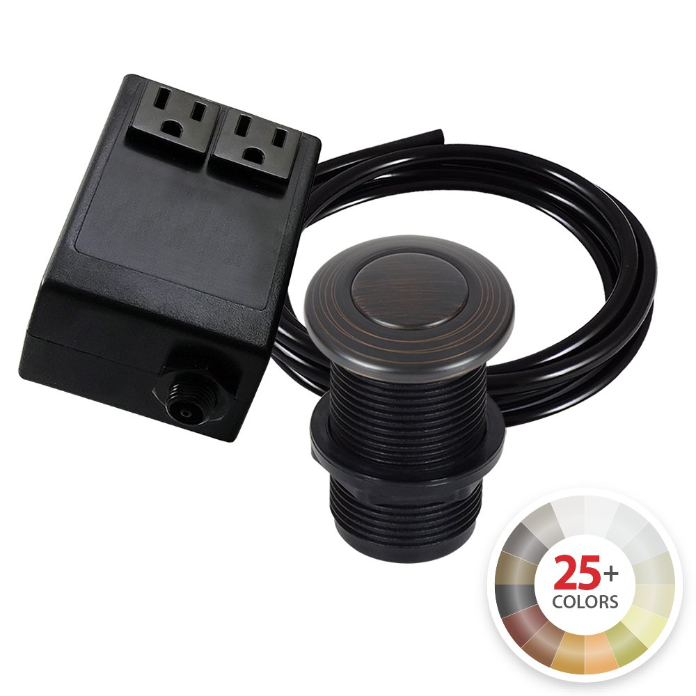 Dual Outlet Garbage Disposal Turn On/Off Sink Top Air Switch Kit in Compatible with any Garbage Disposal Unit and Available in 25+ Finishes by NORTHSTAR DÉCOR. (Standard 2-Inch, Venetian Bronze)
