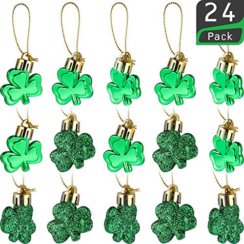 Leinuosen 24 Pieces St Patrick's Day Shamrocks Ornament Good Luck Clover Hanging Bauble for Tree Baubles Table Shelf Festival Decorations ()