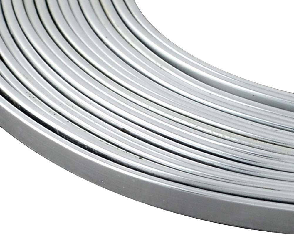 PH PandaHall 25 Yards 3mm Silver Flat Aluminum Wire 18 Gauge Wide Metal Artistic Wire for DIY Sculpture and Crafts Jewelry Making