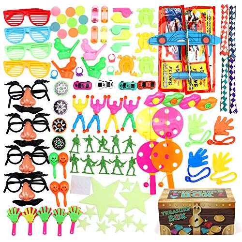 Treasure Box Prizes for Classroom, 100 Piece Party Favors for Kids, Birthday Party and Carnival Games, Perfect for Goodie Bags and Pinata Filler]()