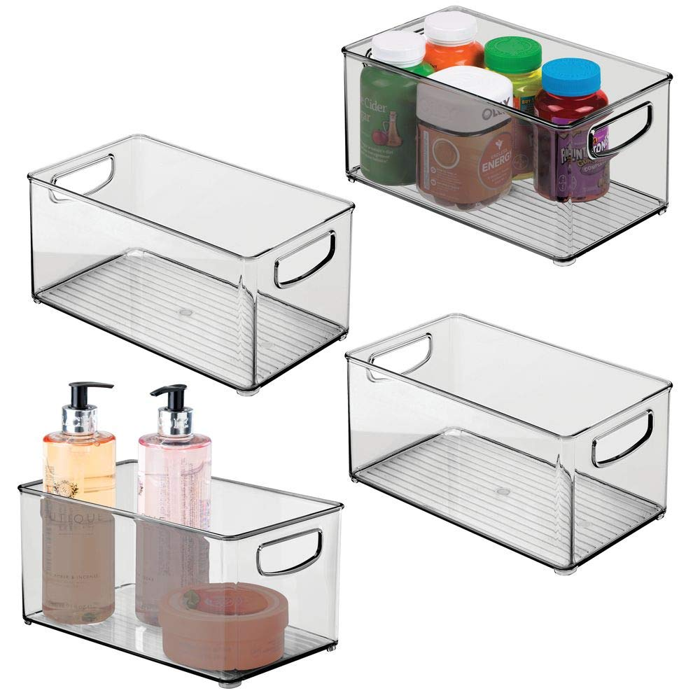 """mDesign Deep Plastic Storage Bin with Handles for Organizing Hand Soaps, Body Wash, Shampoos, Lotion, Conditioners, Hand Towels, Hair Accessories, Body Spray, Mouthwash - 10"""" Long, 4 Pack - Smoke Gray"""
