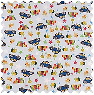 product image for SheetWorld 100% Cotton Percale Fabric by The Yard, Cars & Dogs, 36 x 44