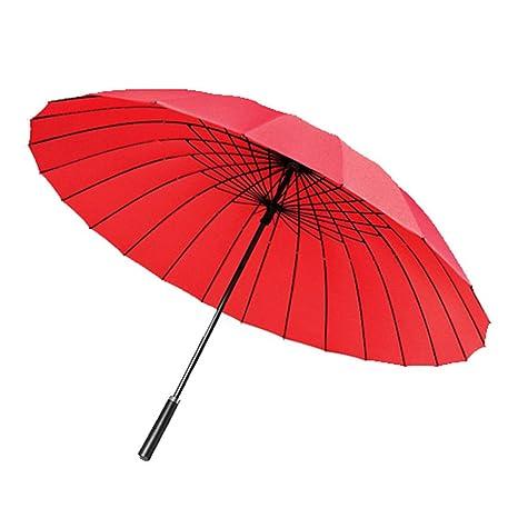 LybCvad paraguas Dos hombres manuales ligeros actividades manual paraguas de color grande, 24 hueso rojo