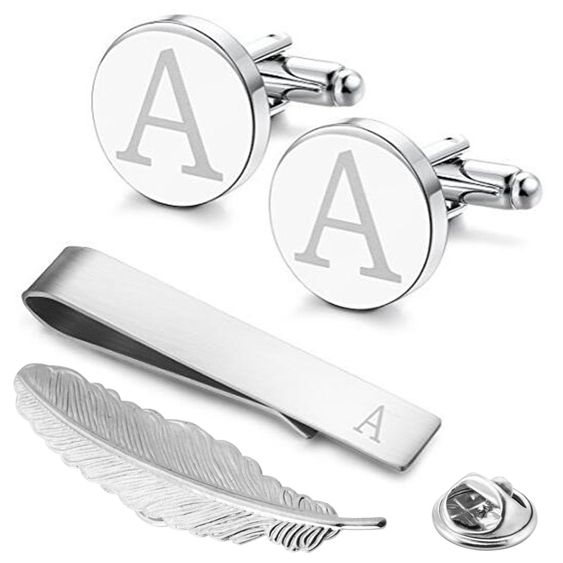 GGemony Men's Shirt Cufflinks 2PCS,Premium Quality Personalized Alphabet Letter A-Z (A-1laser/)