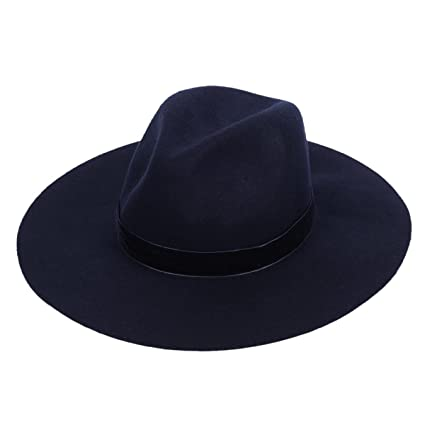 cb4d7d76f8c Panama Felt Hat Women s Fedora Floppy Hat with Wide Brim and Chic Band(Navy  Blue