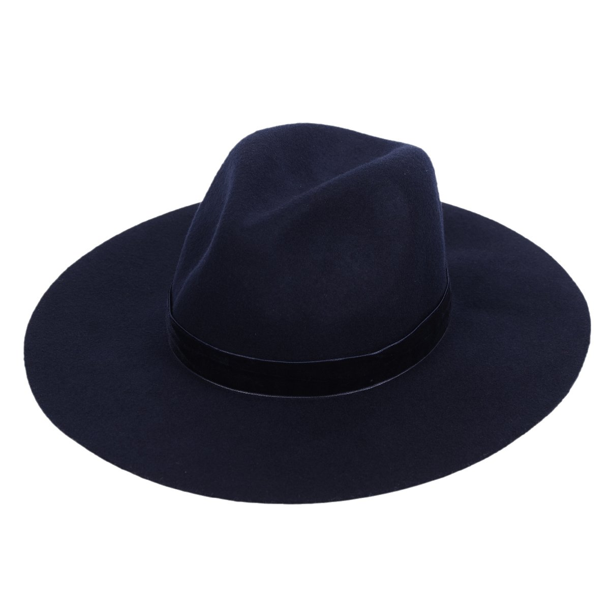 Panama Felt Hat Women's Fedora Floppy Hat with Wide Brim and Chic Band(Navy Blue)