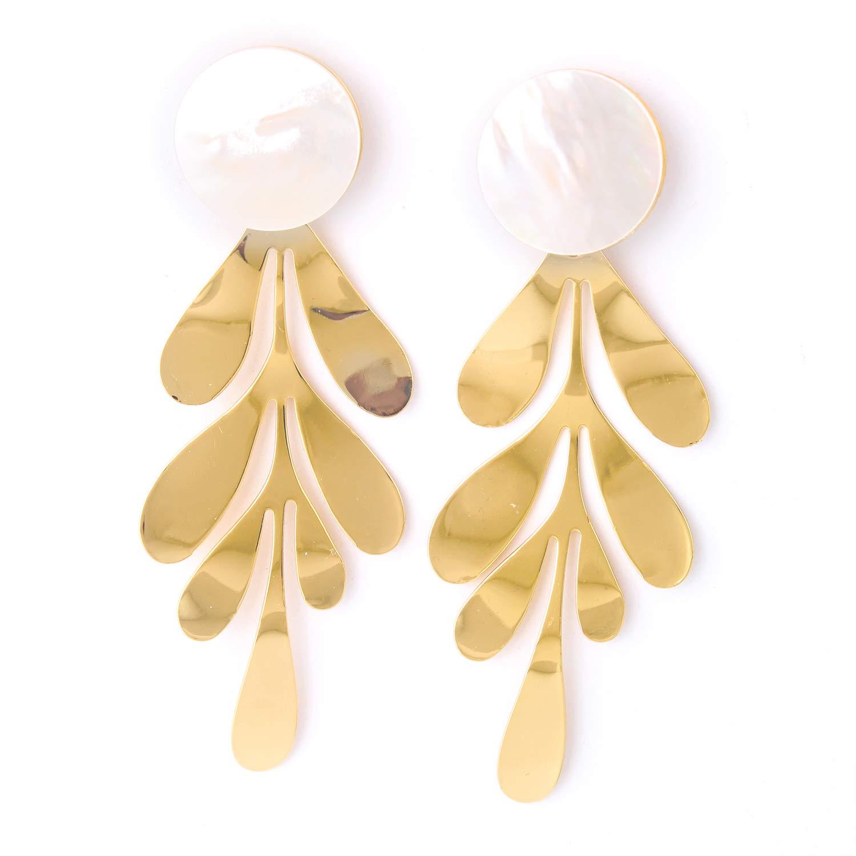 Charm Gold Plated Fashion Shell Earrings Gold Leaf Jewelry Statement Boho Dangle Hoop Earrings for Women
