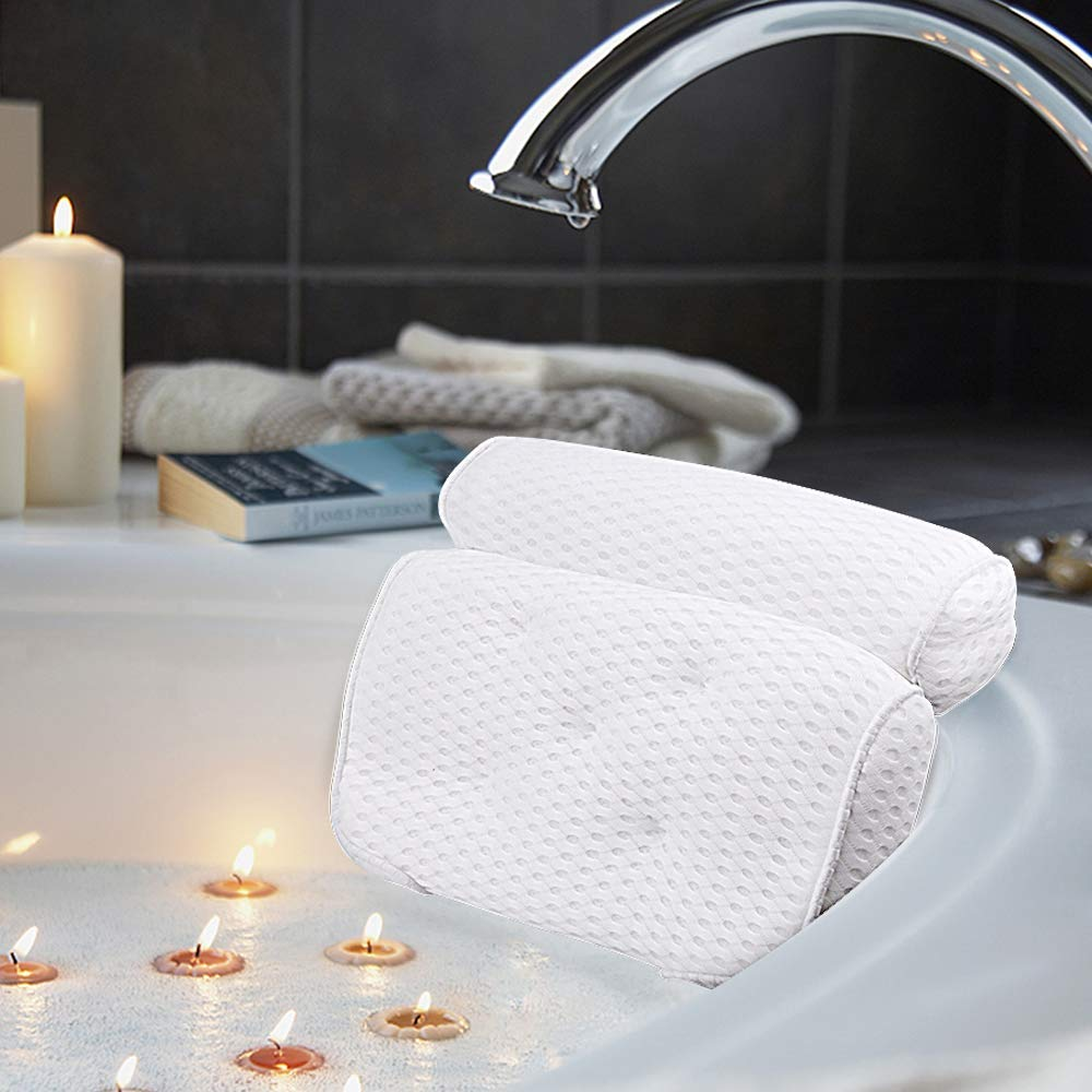 AmazeFan Bath Pillow, Bathtub Spa Pillow with 4D Air Mesh Technology and 5 Suction Cups, Helps Support Head, Back, Shoulder and Neck, Fits All Bathtub, Hot Tub, Jacuzzi and Home Spa