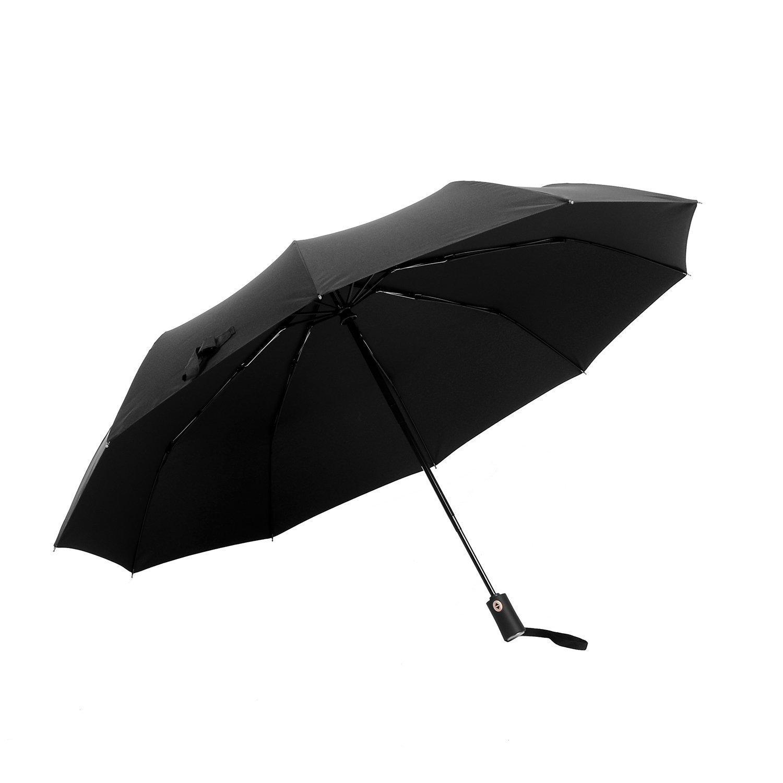 [Parapluie Pliant] Ohuhu® Voyage Parapluie Classique Résistant Au Vent Ouverture et Fermeture Automatique Compact, Noir