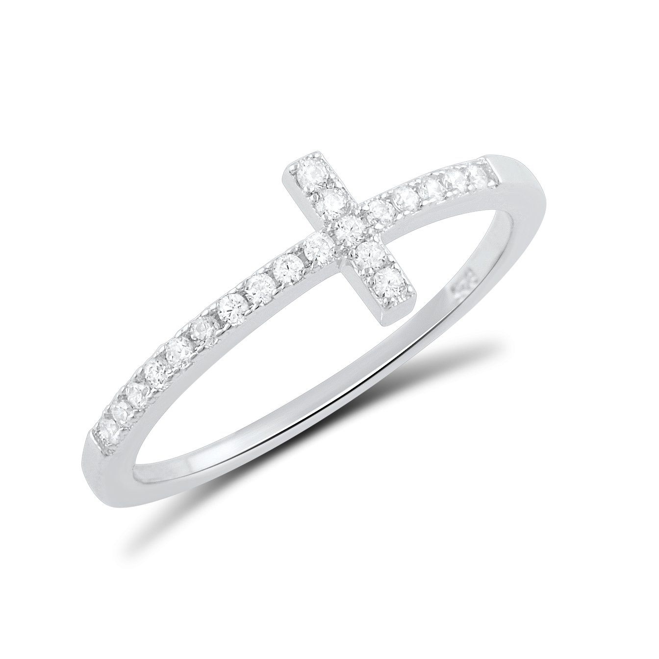 Sterling Silver Cz Thin Stackable Sideways Cross Ring - Size 11