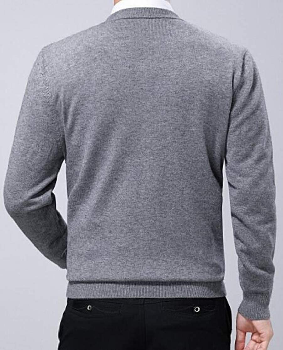 JXG Men Casual Solid Knit Long-Sleeve V-Neck Pullover Sweaters