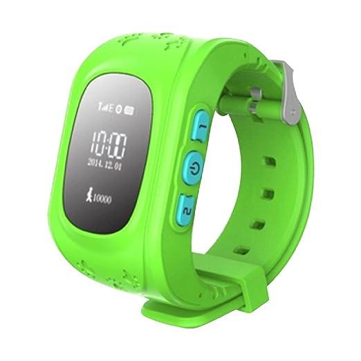 Amazing GPS Rastreador NIÑOS reloj inteligente reloj de pulsera teléfono anti-lost SOS pulsera verde: Amazon.es: Relojes