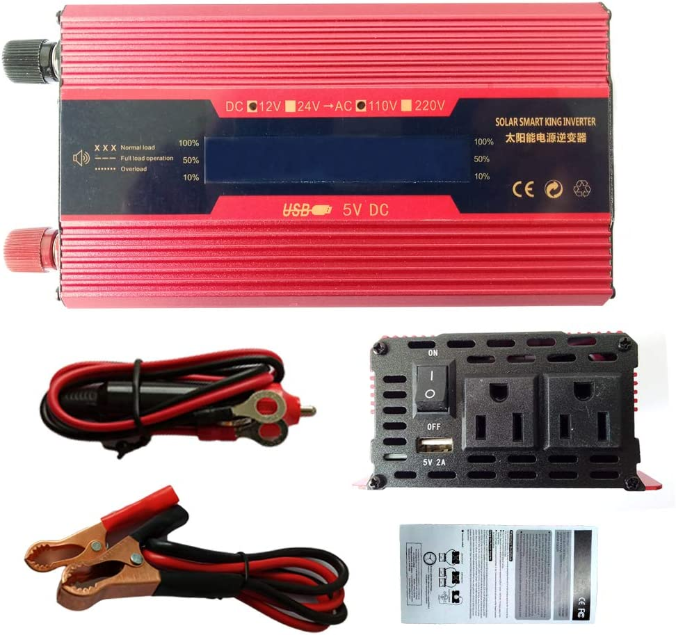 LCD Monitor 500W Car Power Inverter 12V DC to 110V AC Converter with 2A USB Car Charger