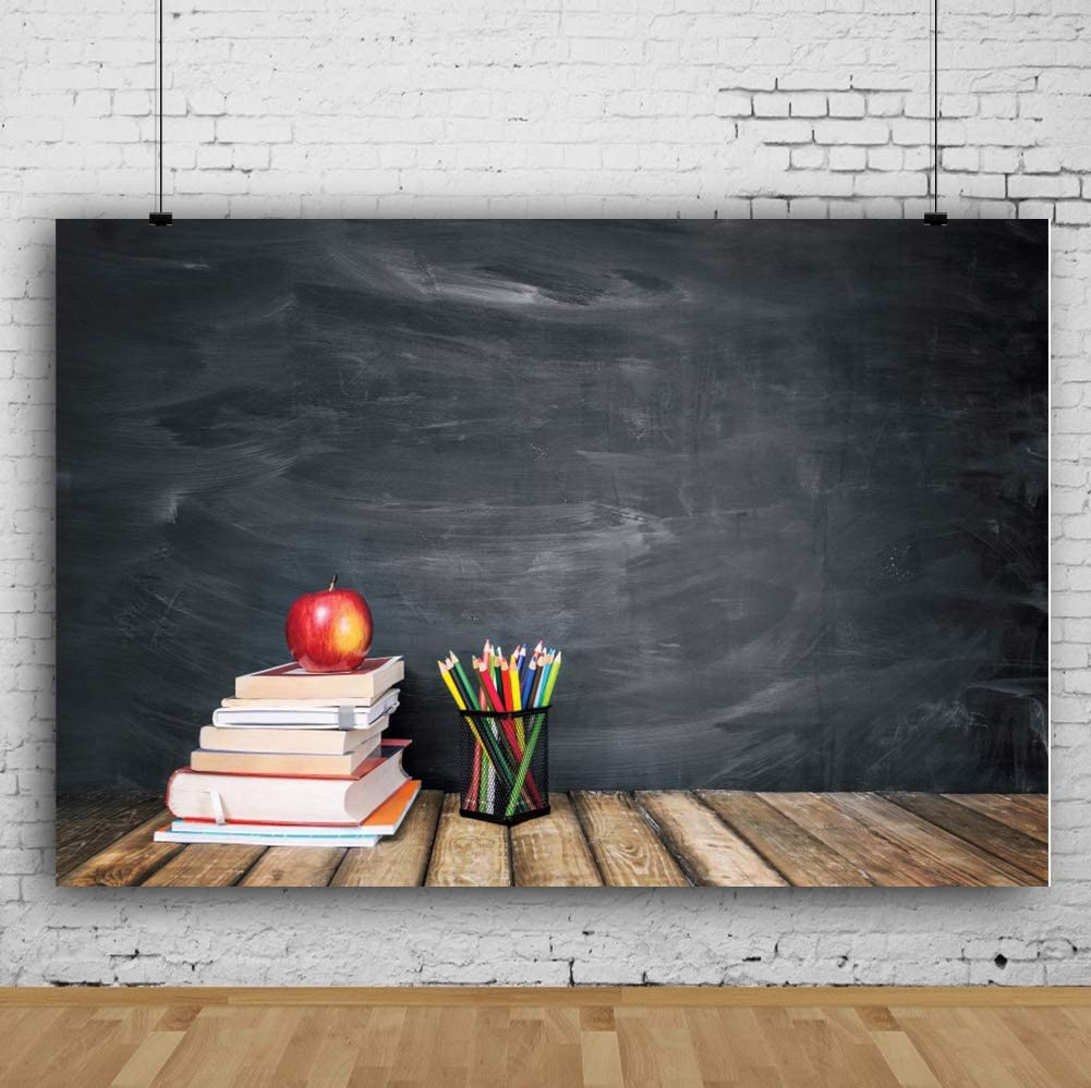 RBQOKJ 10x6.5ft Back to School Backdrop Chalkboard Wooden Books Photography Background for Students Party Shoot Backdrops Studio Prop