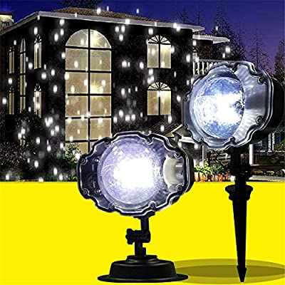 XIHAB LED Projection Lights Outdoor Waterproof White Snow Moving Outdoor Garden Projector Lamps Snowfall Christmas Garden Landscape Spotlight